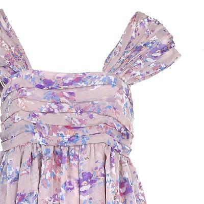 pin-tuck detail flower dress pink
